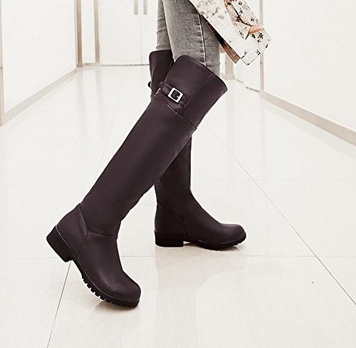 Mee Shoes Damen chunky heels warm gefüttert langschaft Niedrig Stiefel Braun