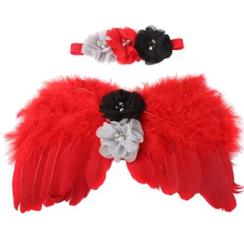 2ST Blumen-Stirnband Für Babys, Kostüm Angel Wings Für Tollder Kinder, Stirnband Set Neugeborene Fotografie Props (Wing Kostüme Angel)