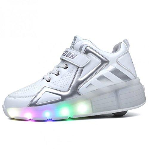 Viken Azer-UK Kinder Schuhe LED Roller Skate Schuhe Skateboard Schuhe Sneakers Sportschuhe Kinder 28-40 (37 EU, Weiß02)