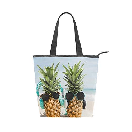 LAZEN Stilvolle Leinwand Tote Bag Handtasche 14 x 4,5 x 15 Zoll cute Ananas Brille zwei Kopfhörer