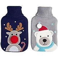 AC-Déco Wärmflasche für Weihnachten, 2 l, Motiv Rentiere, 35 x 20 cm, Blau preisvergleich bei billige-tabletten.eu