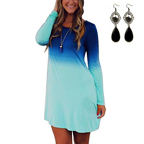 Sitengle Donna Bluse Vestito T-shirt a Maniche Lunga Gradiente Maglia Lunga Camicia Camicetta (Vestito Blu Camicia A Righe)
