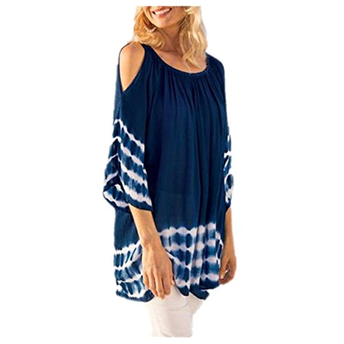 VENMO Womens O Neck Bluse Striped Loose Beach Top Damen Casual Tie Dye T-Shirt Tops (M, Blue) (Baby Blue Tie-dye)
