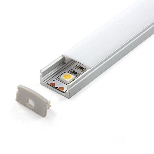 KIT - Perfil aluminio BARLIS para tiras LED, 2 metros