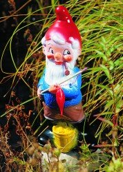 Zwerg als Angler, 35 cm, Gartenzwerg, Kunststoff