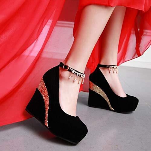 XUERUI Rauen Schuhe Knöchelplattform-Pumpe Runder Zeh High Heels Fesselriemen Bachelorette Hochzeit, Party, Verein, Abend, Geschäft, Dating Pumps (Color : 006, Size : EU39/UK6/CN39) - Ankle-wrap Patent Pump