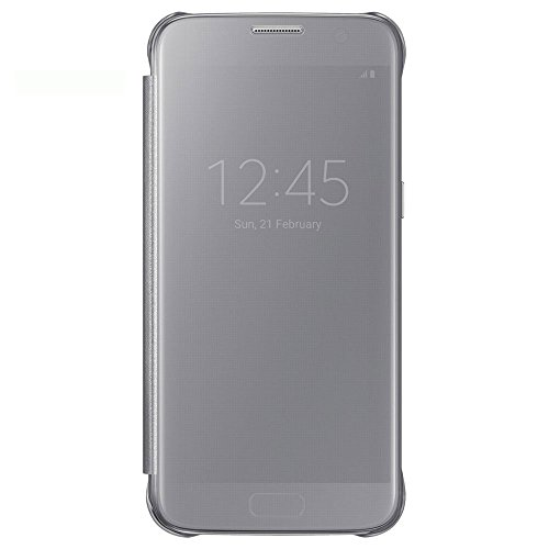 Samsung clear view cover per galaxy s7, argento