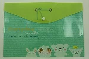 Animal mignon ruban de bouton-pression document enveloppe portefeuille (vert)