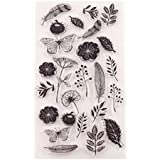 Healifty Leaves and Flowers Clear Stamp Transparent Seal Stamps for DIY Scrapbooking Craft Card Photo Album Diary Decoration