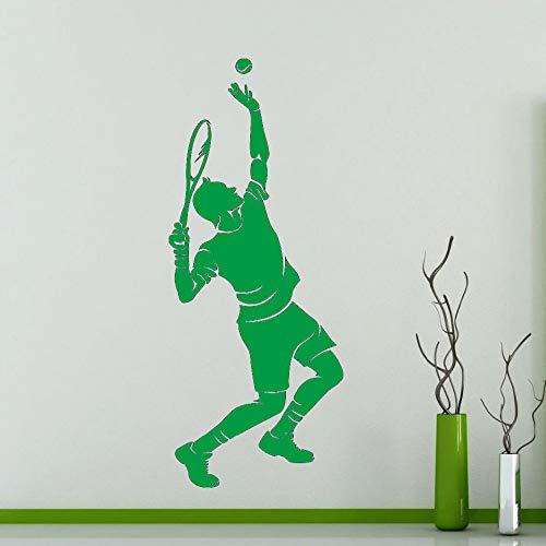 Zaosan Tennis Player Silhouette wandaufkleber Sports Series männer Spielen Tennis Muster Vinyl wandtattoos Home Wohnzimmer Dekoration grün 57x24 cm