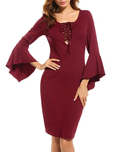 ACEVOG Damen Vintage kleid knielang festlich Kleider ...
