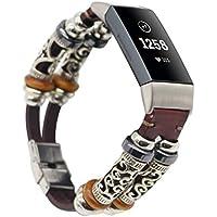 SO-buts Fitbit Charge 3 Armband Leder,Ersetzen Leder Armband, Retro Lederband Strap,Für Fitbit Charge 3