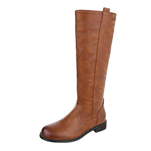 Klassische Stiefel Damen-Schuhe Klassischer Stiefel Blockabsatz Blockabsatz Reißverschluss Ital-Design Stiefel Camel, Gr 37, 0-173-