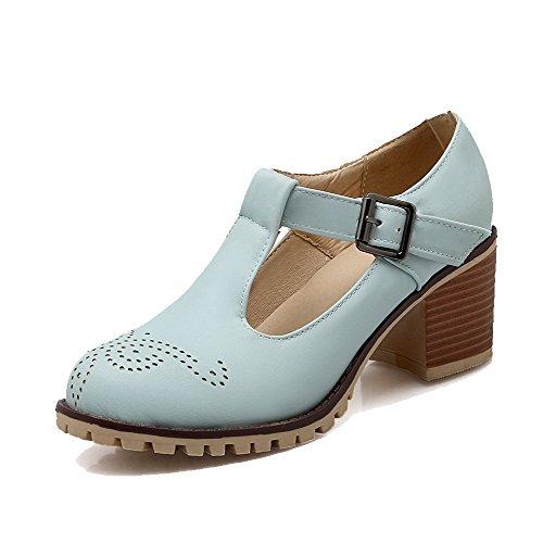 AllhqFashion Femme Boucle à Talon Correct Rond Pu Cuir Couleur Unie Chaussures Légeres Bleu