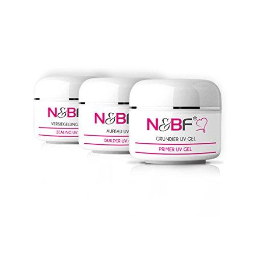 N&BF Probe Set (3x5ml) – Grundiergel – Aufbaugel – Versiegelungsgel – Spar-Set – Vorteils-Set – UV Gel Probierset für Nageldesign / Gelnägel (15ml, Probe Set 1)