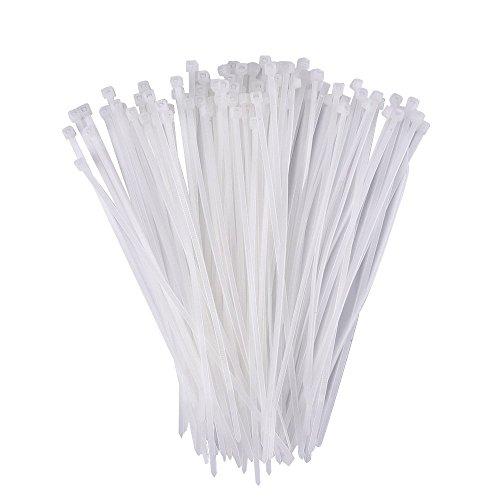 Daorier Lot de 100 Serre-Câbles de Nylon Attache-Câble Colliers de Serrage Plastique Autobloquant 3×200 mm (Blanc)