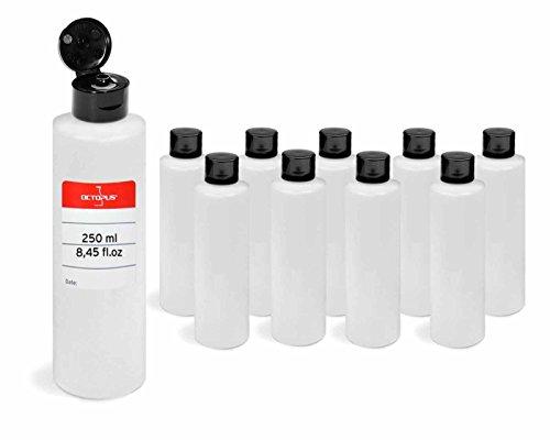 10 botellas de plastico de Octopus de 250 ml, botellas de plastico de HDPE con tapones abatibles negros, botellas vacias con tapa abatible negra, botellas redondas con 10 etiquetas para marcar