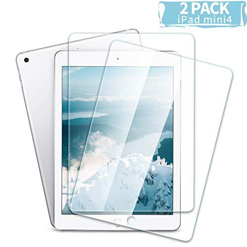 Youer Schutzfolie für iPad Mini 4, Gehärtetem Glas Displayschutzfolie, Keine Blasen, Kratzschutz, Anti-Öl【2 Pack】- Transparent