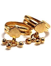Daily Use Metal Alloy (Panchaloha) Toe Ring For Women- 2 Round Spring Type With A Leaf And Hanging Beads
