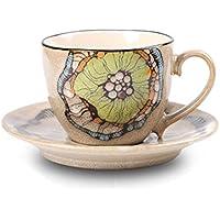 Teckpeak Dipinta a Mano Porcellana Delicata Elegante Tè Tazza Caffe' Tazza Set con un Disco Volante e Cucchiaio - Lotus