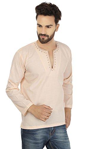 MapleClothing Maple Clothing Hemd Gesticktes Männer Kurz Kurta Cotton Mode Indien Bekleidung Beige