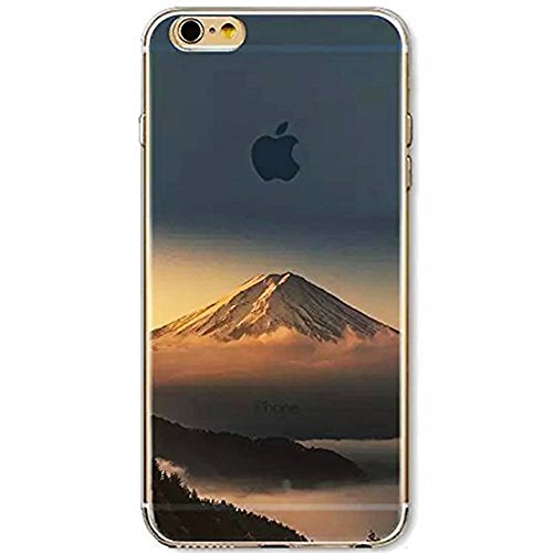 Custodia per iPhone 6/6S,Gray Plaid Design Trasparente Chiaro Creative 3D Case Cover , Ultra-sottile marche popolari TPU Gel Silicone Bumper Protettivo Skin Custodia Per iPhone 6/6S (4.7 inch) - onde Monte Fuji
