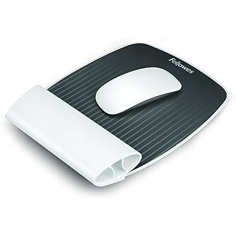 Fellowes I-Spire - Alfombrilla con reposamuñecas flexible para ratón, color blanco y gris