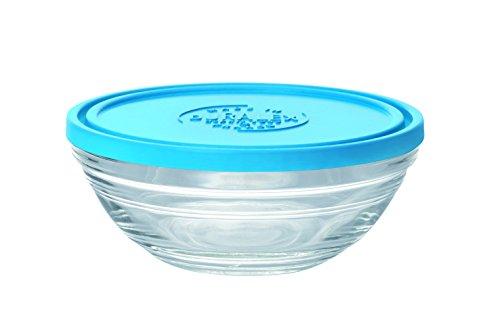 DURALEX 9064AM12 Lys Coupelle Ronde avec Couvercle Verre Transparent/Bleu 12,2 cm