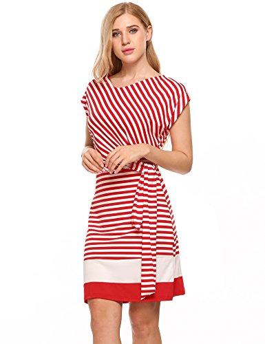 Meaneor Damen Strickkleid Gestreiftes Sommerkleid Jersey Casual Look in Figurbetonter Passform (L, Rot&Weiß) -