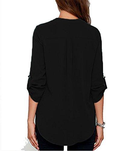 DoubleYI Damen Bluse Elegant Chiffon mit V-Ausschnitt Blusen Sommer Oberteil T-Shirt Tops Schwarz