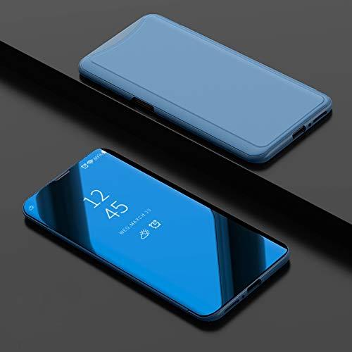 Ycloud Kratzfeste Tasche für Oppo Find X Flip Mirror Cover mit Stand Function Klare View Schutz Schale Spiegel Bleu Hülle für Oppo Find X