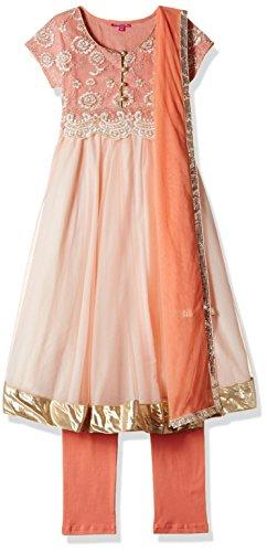 Biba Girls' Salwar Suit (KW1764_Peach and Cream_5)
