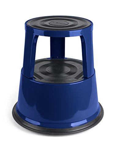 Pavo 8041978 Roll-Tritt-Arbeits Hocker  Roll-Stufen Tritt, Elefantenfuß  Steighilfe TÜV & GS geprüft bis 150 kg, metall blau