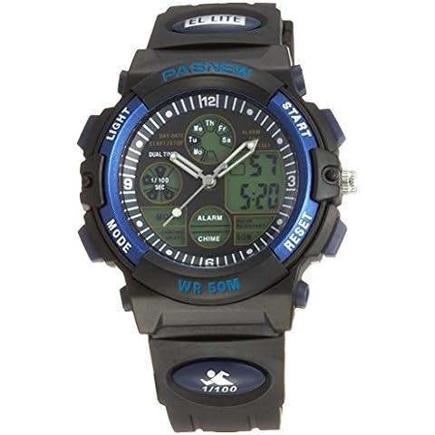 Pasnew reloj 50M impermeable Unisex niños niñas hora Dual LED Digital analógico deportes reloj de pulsera con alarma de fecha Stopwatch Rubber Band (azul)