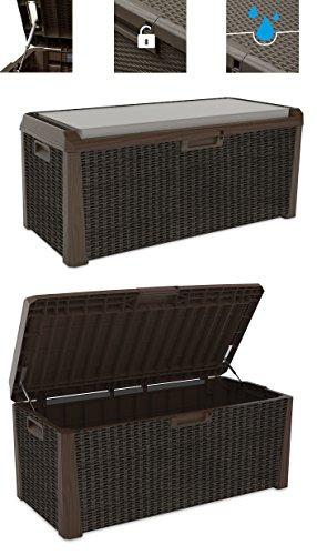 gartenbox polyrattan XL Toomax Kissenbox braun 560 Liter Inhalt - mit Sitzfläche 380 kg Tragtkraft - absolut wasserdicht - abschließbar
