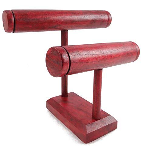 Etagere Armbänder und Uhren 2Armbandhalter aus massiver, gebeizter Holz rot -