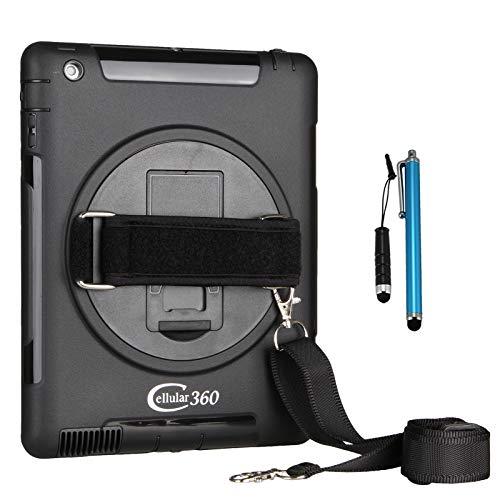 Cellular360 Stoßfestes Hülle mit 360 Grad drehbarem Ständer, Griff und Schultergurt für iPad 2 iPad 3 iPad 4 (Schwarz)