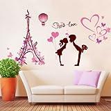Wandaufkleber Wandtattoo Wohnzimmerromantischer Rosafarbener Wandaufkleber Verzierte Wohnzimmer Fernsehhintergrundwand, Liebe In Paris, Übergroß