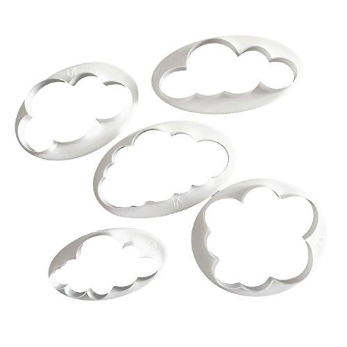 Baoblaze 5tlg. Kunststoff Keks Ausstechformen Cloud Wolken Ausstecher DIY Fondant Ausstechformen Deko Utensilien Modellierwerkzeug Fondant Kuchen Tortendekoration für Backen