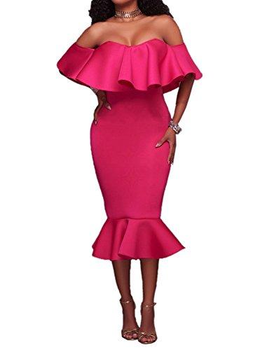 5 ALL Damen Partykleid Elegant Schulterfrei Rüschen Ärmellos Meerjungfrau Cocktailkleid Bodycon Knielang Minikleid Festliche Kleider Abendkleid Rose (Kleid Rüschen)
