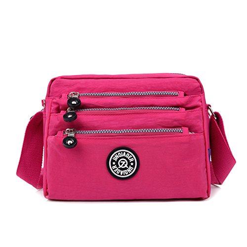 Outreo Schultertasche Wasserdicht Sporttasche Damen Umhängetasche Mode Designer Messenger Bag Taschen Leichter Kuriertasche für Mädchen Reisetasche Rot 2