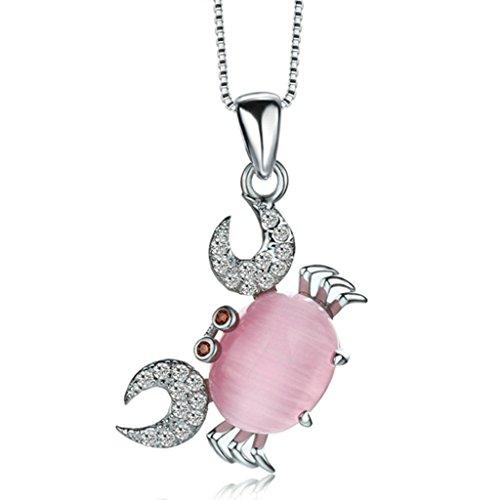 Beydodo Sterling Silber Halskette(Anhänger-Halsketten)Für Damen CZ Zriconia Weiß Rosa Krabbe Mit Box (Rosa Gangster Kostüme)