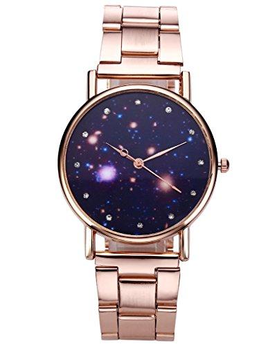 JSDDE Unisexe Montre Bracelet Quartz Montre Boîtier Échelle de Cristal Univers étoile,Bracelet en Acier Inoxydable Or Rose (Nuit)
