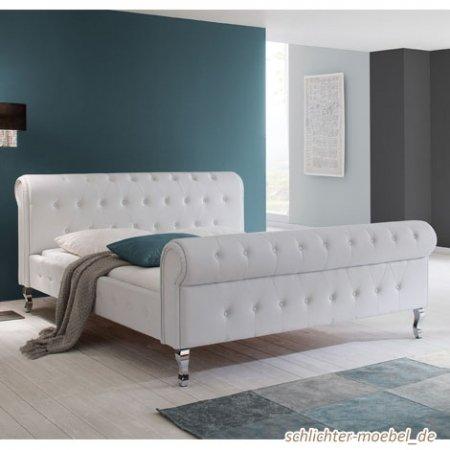 Schlichter Möbel Polsterbett Barock Plus Kunstleder Weiß (180 x 200 cm)