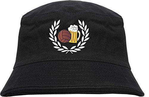 Lorbeerkranz Fussball Bier Fischerhut - Bucket Hat - Bestickt - S/M Schwarz