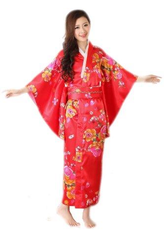 JTC Femmes Robe de Bain/Chambre Longue Japonaise Kimono Lache en Satin Motif Multicolore fleur rouge
