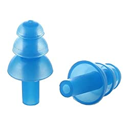 TOOGOO(R) Pair Swimming Dive Flexible Silicone Ear Plugs Earplug Blue