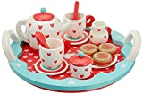 Indigo Jamm Wooden Tea Set, Pretend Play Tea Party Tray with 10 Tea Set Pieces and 3 Wooden Biscuits  Hearts