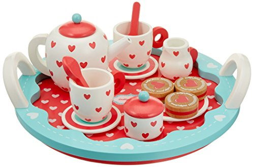Indigo Jamm Wooden Tea Set, Pretend Play Tea Party Tray with 10 Tea Set Pieces and 3 Wooden Biscuits - Hearts