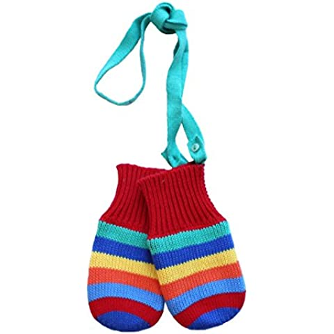 Toby Tiger 100% Cotton outer with soft fleece lined multi stripe knitted mittens.-Guanti Bambini e ragazzi,